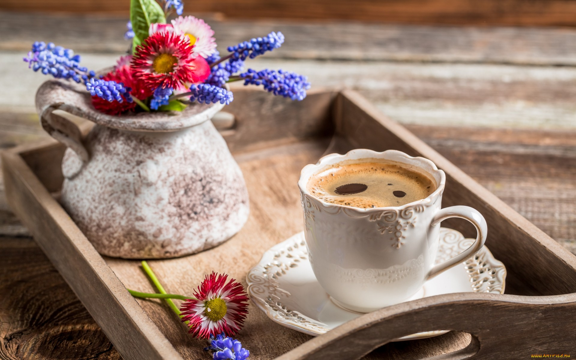 Кофе и цветы картинки